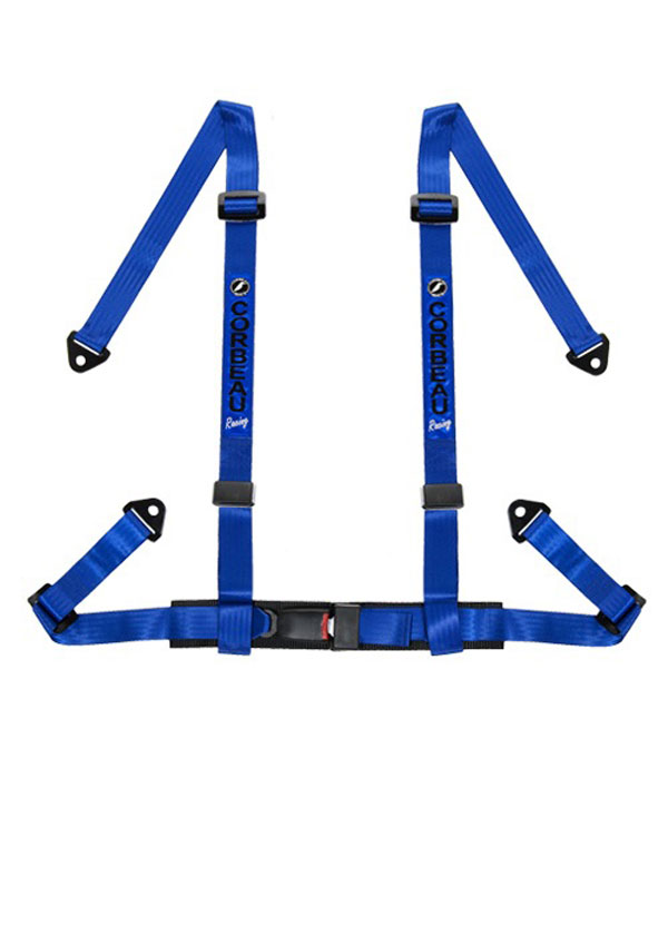 Corbeau 44005S |  2 Inch Harness Belt 4-point Single Release Snap-in - Blue; 1950-2017