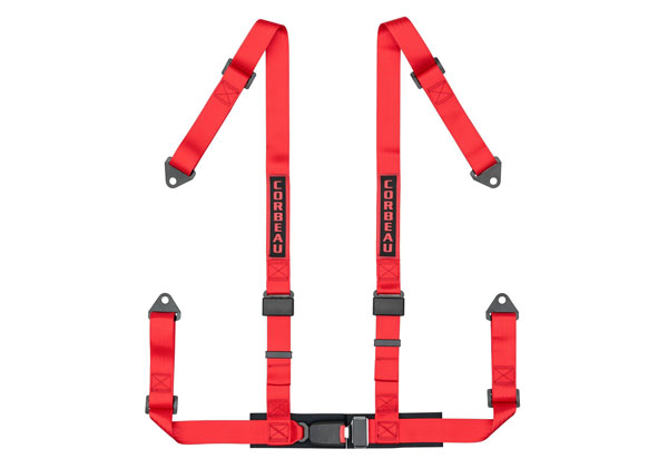 Corbeau 44007B:  2 Inch Harness Belt 4-point Single Release Bolt-in - Red