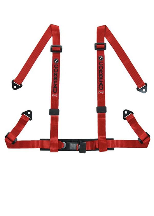 Corbeau 44007S |  2 Inch Harness Belt 4-point Single Release Snap-in - Red; 1950-2017