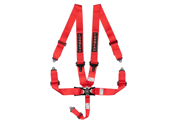 Corbeau 53007B | 3 Inch 5-Point Harness Belt with Camlock - Red