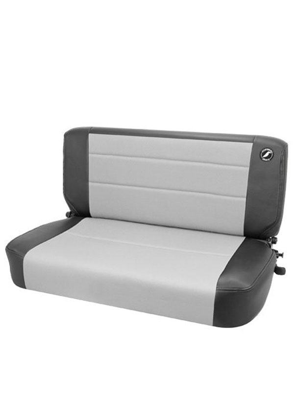 Corbeau 60019 |  Safari Fold and Tumble Bench Seat in Black Vinyl / Grey Cloth