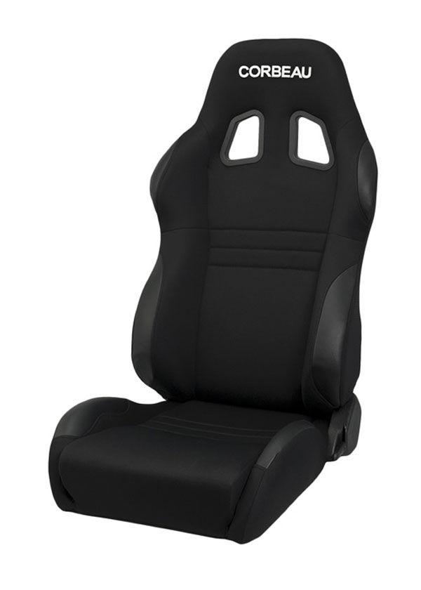 Corbeau 60091W:  A4 Reclining Seat in Black Cloth - Wide (Sold in Pairs, Price is for 2 Seats)