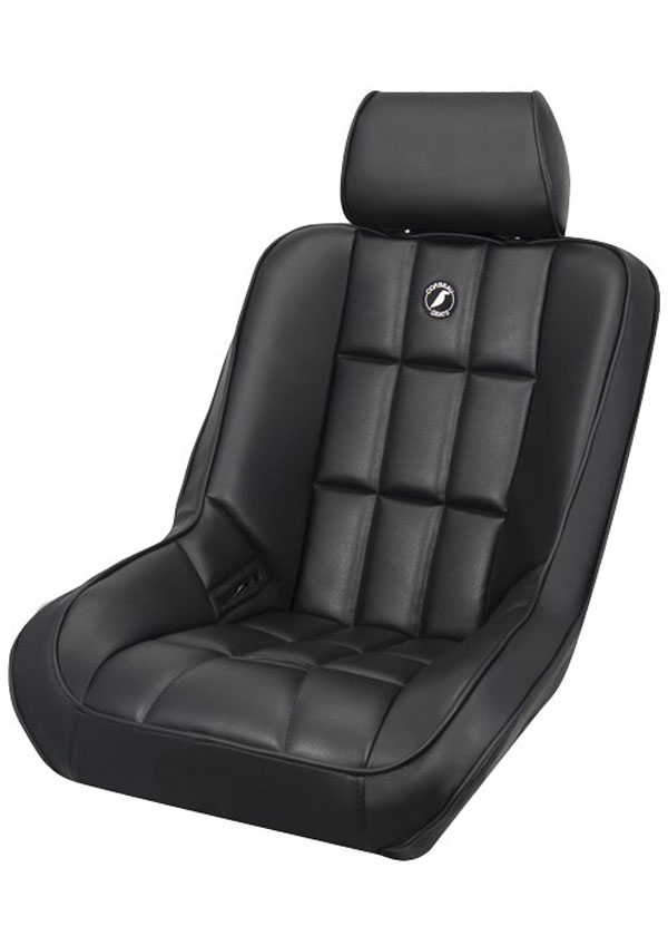Corbeau 62201-HR01 | Baja SS Suspension Seat in Baja Low Back Black Vinyl with Head Rest; 1950-2012