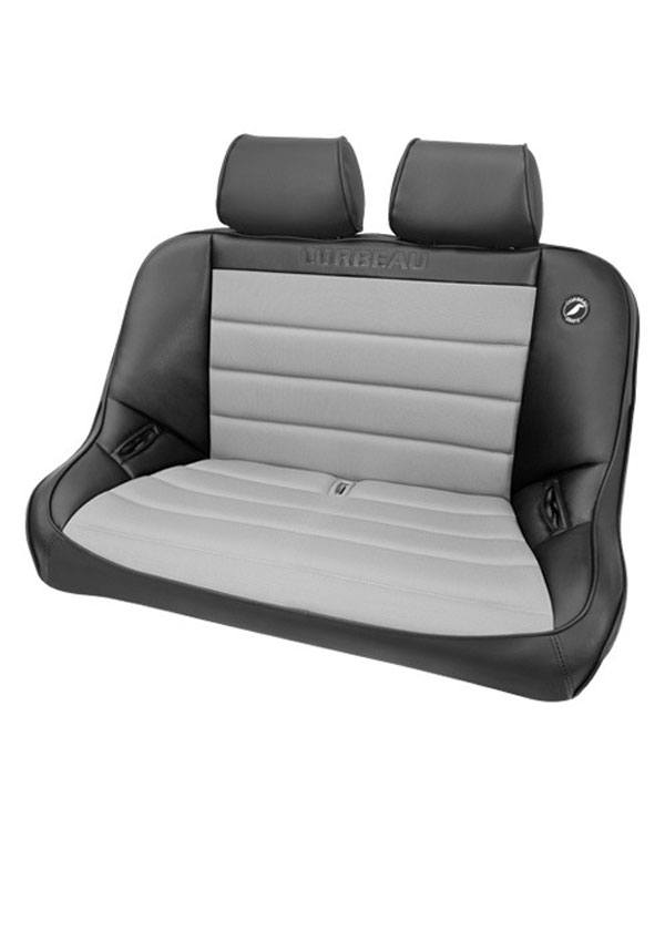 Corbeau 64019-HR01    Baja Bench 40 inch Seat in Black Vinyl / Grey Cloth with Headrests; 1950-2017