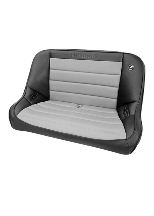 Corbeau 64019:  Baja Bench 40 inch Seat in Black Vinyl / Grey Cloth