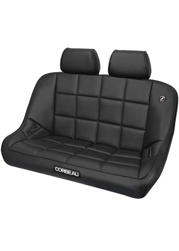 Corbeau 64401-HR01 | Baja Bench 42 inch Seat in Black Vinyl with Headrests