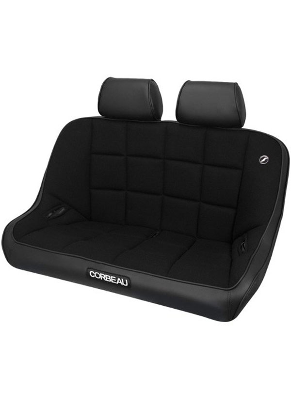 Corbeau 64402B-HR01: Corbeau Baja Bench 42 inch Seat in Black Vinyl / Cloth with Headrests