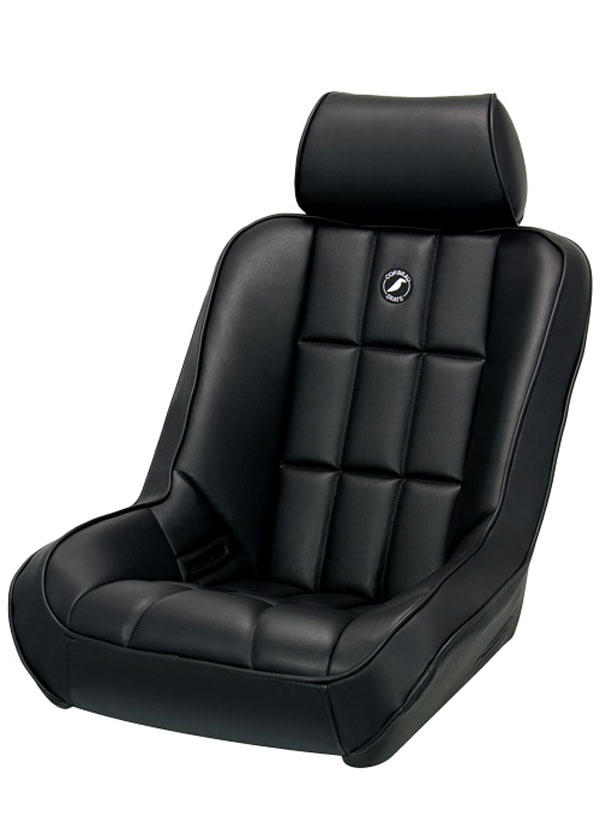 Corbeau 65401-HR01 | Baja Low Back Suspension Seat in Black Vinyl with Adj  Headrest