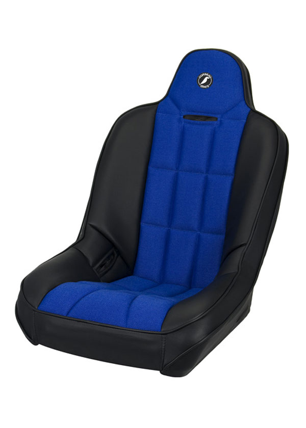 Corbeau 65405:  Baja SS Suspension Seat in Black Vinyl / Blue Cloth