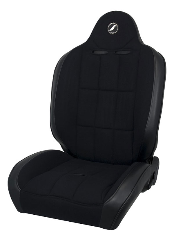 Corbeau 66402B:  Baja RS Reclining Suspension Seat in Black Vinyl/Cloth (Sold in Pairs, Price is for 2 Seats)