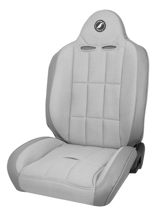 Corbeau 66408:  Baja RS Reclining Suspension Seat in Grey Vinyl/Cloth (Sold in Pairs, Price is for 2 Seats)