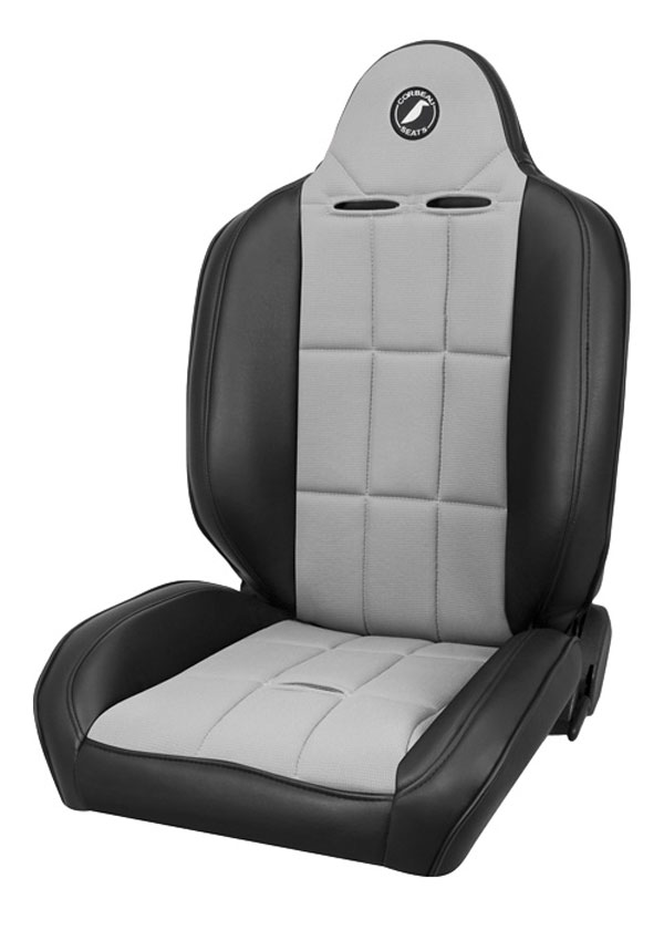 Corbeau 66419 | Baja RS Reclining Suspension Seat in Back / Grey Vinyl (Sold in Pairs, Price is for 2 Seats); 1950-2012