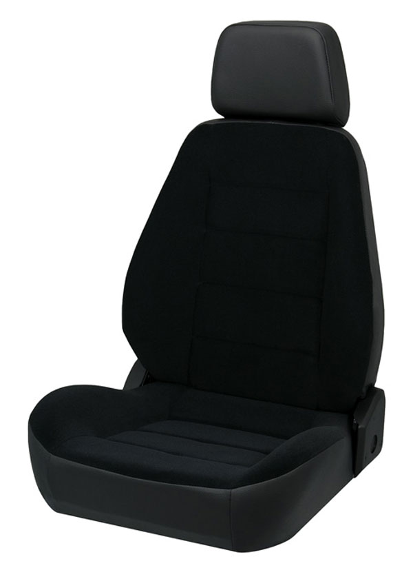 Corbeau 90011 | Sport Seat (new style) Reclining Seat in Black Vinyl/Cloth (Sold in Pairs, Price is for 2 Seats); 1950-2012