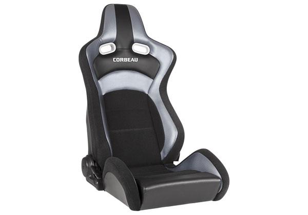 Corbeau 94909 |  Sportline RRX Reclining Seat - Black Cloth / Silver Carbon Fiber Vinyl