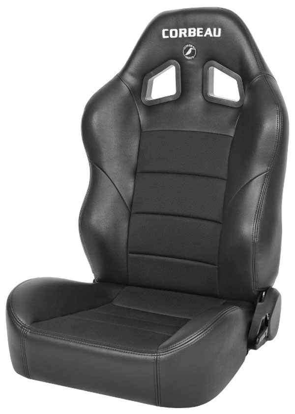 Corbeau 96602B |  Baja XRS Reclining Suspension Seat in Black Vinyl/Cloth (Sold in Pairs, Price is for 2 Seats); 1950-2012