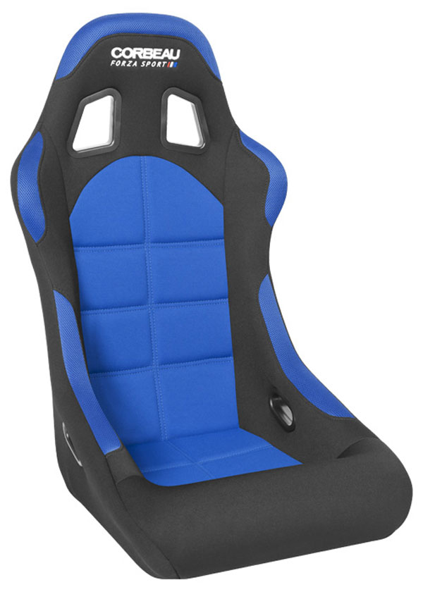 Corbeau FIA29105:  Forza Sport FIA Approved Fixed Racing Seat in Black/Blue Cloth