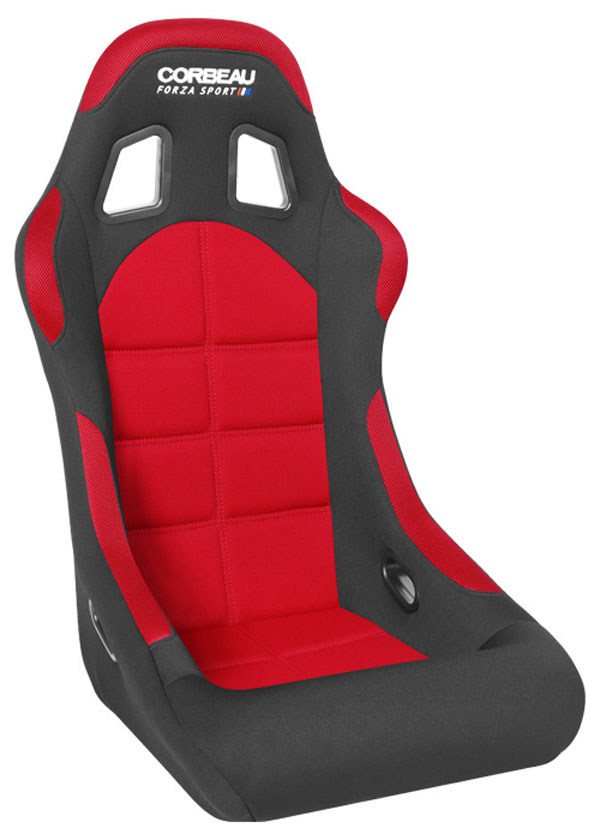 Corbeau FIA29107:  Forza Sport FIA Approved Fixed Racing Seat in Black/Red Cloth