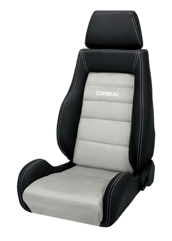 Corbeau LS20309:  GTS II Reclining Seat in Black Leather/ Grey Microsuede (Sold in Pairs, Price is for 2 Seats)