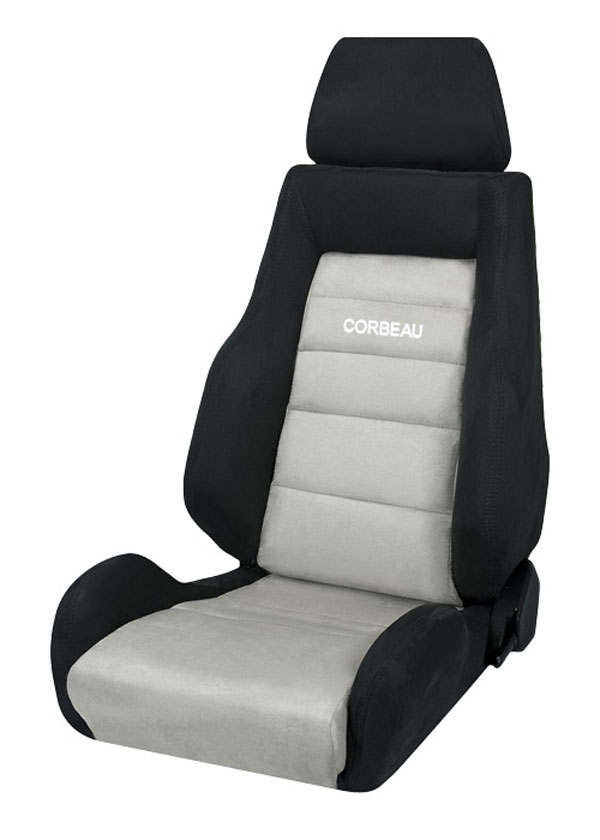 Corbeau S20309 | GTS II Reclining Seat in Black/Grey Microsuede (Sold in Pairs, Price is for 2 Seats); 1950-2017