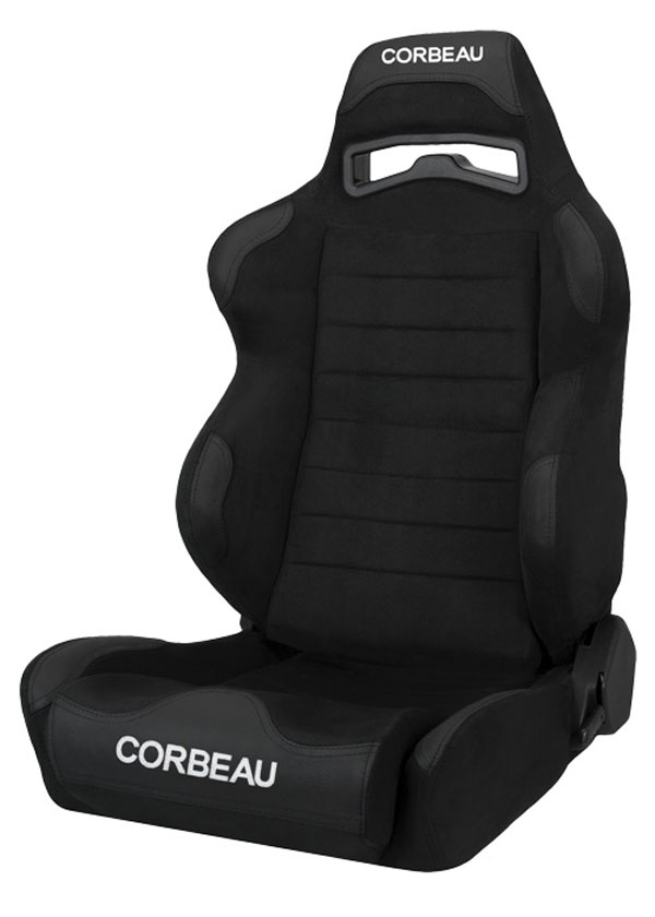 Corbeau S25501W | LG1 Reclining Seat in Black Microsuede - Wide (Sold in Pairs, Price is for 2 Seats); 1950-2017