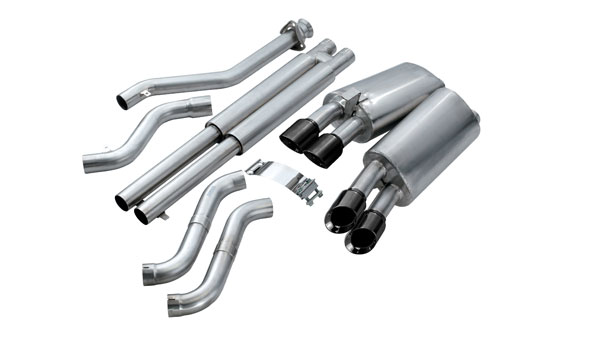 Corsa Performance 14118BLK | CORSA Corvette Cat-Back Exhaust C4 5.7L V8 LT4 Sport - 2.5 Inch Dual Rear Exit with Twin 3.5 Inch Black Pro-Series Tips; 1996-1996