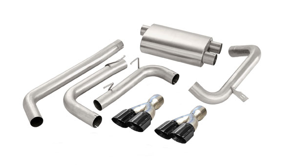 Corsa Performance 14143BLK | CORSA Camaro Cat-Back Exhaust Z28 Convertible 5.7L V8 LS1 Sport 1998 - 2002 3 Inch Dual Rear Exit with Twin 3.5 Inch Black Pro-Series Tips