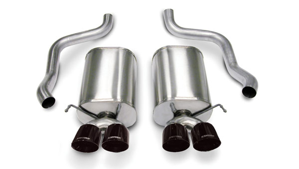 Corsa Performance 14169BLK | CORSA Corvette Axle-Back Exhaust C6 6.2L V8 Sport - 2.5 Inch Axle-Back, Dual Rear Exit with Twin 3.5 Inch Black Pro-Series Tips; 2005-2008