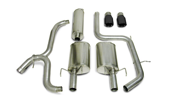Corsa Performance 14184BLK | CORSA Pontiac Grand Prix Cat-Back Exhaust Sport 1997 - 2002 2.5 Inch Dual Rear Exit with Single 4 Inch Black Pro-Series Tips