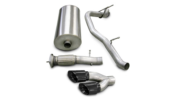 Corsa Performance 14202BLK | CORSA Cadillac Escalade Cat-Back Exhaust Escalade 6.2L V8 Sport 2007 - 2010 3 Inch Single Side Exit with Twin 4 Inch Black Pro-Series Tips