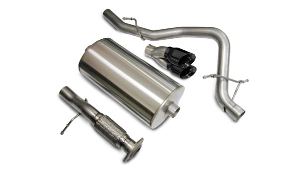 Corsa Performance 14208BLK | CORSA Tahoe Cat-Back Exhaust 5.3L V8 Touring - 3 Inch Single Rear Exit with Twin 4 Inch Black Pro-Series Tips; 2007-2008