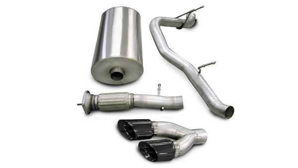 Corsa Performance 14219BLK | CORSA Cadillac Escalade Cat-Back Exhaust Escalade 6.2L V8 Touring 2007 - 2010 3 Inch Single Side Exit with Twin 4 Inch Black Pro-Series Tips