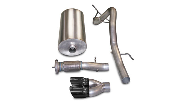 Corsa Performance 14243BLK | CORSA GMC Yukon Cat-Back Exhaust Denali 6.2L V8 Touring - 3 Inch Single Rear Exit with Twin 4 Inch Black Pro-Series Tips; 2007-2010