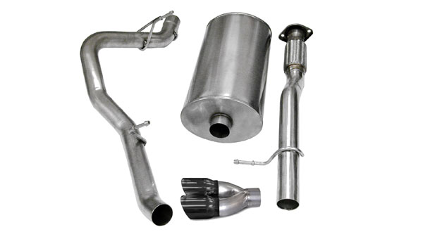 Corsa Performance 14246BLK | CORSA Suburban Cat-Back Exhaust 1500 5.3L V8 Sport 2007 - 2008 3 Inch Single Side Exit with Twin 4 Inch Black Pro-Series Tips