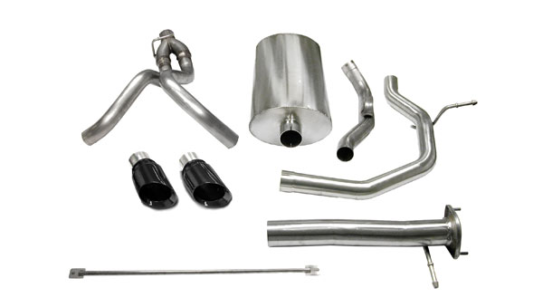 Corsa Performance 14254BLK | CORSA SSR Cat-Back Exhaust 6.0L V8 Sport 2003 - 2006 3 Inch Dual Rear Exit with Single 4 Inch Black Pro-Series Tips