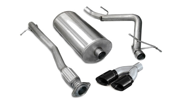 Corsa Performance 14259BLK | CORSA Silverado Cat-Back Exhaust 1500 Crew Cab/Short Bed 4.8L V8 Sport 2007 - 2008 3 Inch Single Side Exit with Twin 4 Inch Black Pro-Series Tips