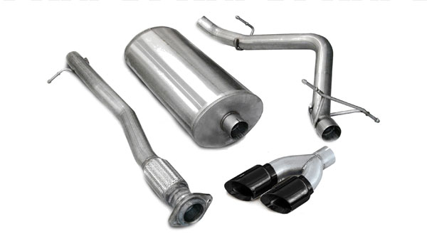 Corsa Performance 14269BLK | CORSA Silverado Cat-Back Exhaust 1500 Extended Cab/Standard Bed 5.3L V8 Touring 2007 - 2008 3 Inch Single Side Exit with Twin 4 Inch Black Pro-Series Tips