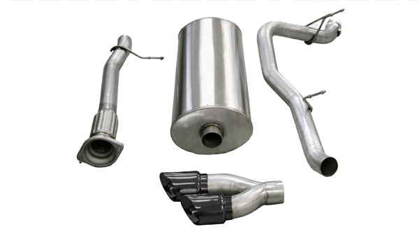 Corsa Performance 14298BLK | CORSA Cadillac Escalade Cat-Back Exhaust ESV 6.2L V8 Sport - 3 Inch Single Side Exit with Twin 4 Inch Black Pro-Series Tips; 2007-2010