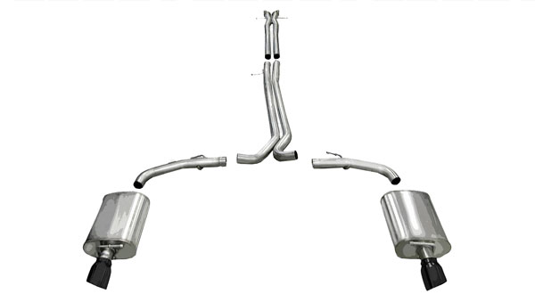 Corsa Performance 14315BLK | CORSA Taurus Cat-Back Exhaust SHO 3.5L V6 Turbo Sport 2010 - 2017 2.5 Inch Dual Rear Exit with Single 4 Inch Black Pro-Series Tips
