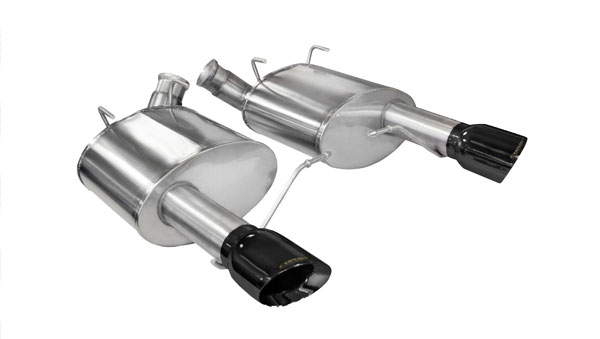 Corsa Performance 14317BLK | CORSA Mustang Axle-Back Exhaust GT 5.0L V8 Xtreme - 3 Inch Axle-Back, Dual Rear Exit with Single 4 Inch Black Pro-Series Tips; 2011-2014