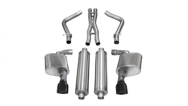 Corsa Performance 14463BLK | CORSA Chrysler 300 Cat-Back Exhaust SRT-8 6.4L V8 Sport - 2.75 Dual Rear Exit with Single 4.5 Inch Black Pro-Series Tips; 2012-2014