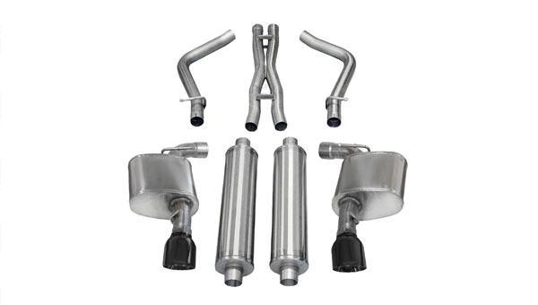 Corsa Performance 14464BLK | CORSA Chrysler 300 Cat-Back Exhaust SRT-8 6.4L V8 Xtreme - 2.75 Dual Rear Exit with Single 4.5 Inch Black Pro-Series Tips; 2012-2014