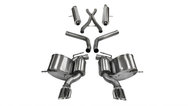 Corsa Performance 14466 | CORSA Jeep Grand Cherokee Cat-Back Exhaust 6.4L SRT8 V8 Sport - 2.75 Dual Rear Exit with Single 4.5 Inch Polished Pro-Series Tips; 2012-2017