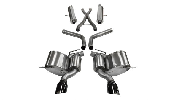 Corsa Performance 14466BLK | CORSA Jeep Grand Cherokee Cat-Back Exhaust 6.4L SRT8 V8 Sport 2012 - 2017 2.75 Dual Rear Exit with Single 4.5 Inch Black Pro-Series Tips