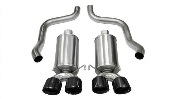 Corsa Performance 14469BLK | CORSA Corvette Axle-Back Exhaust C6 6.2L V8 Xtreme - 2.5 Inch Axle-Back, Dual Rear Exit with Twin 3.5 Inch Black Pro-Series Tips; 2005-2008