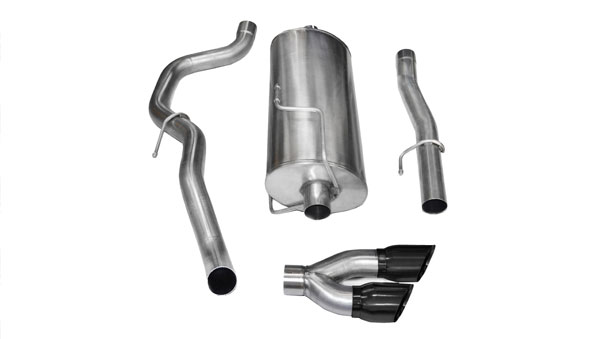 Corsa Performance 14480BLK | CORSA Dodge Ram 2500 Cat-Back Exhaust Regular Cab/Long Bed 5.7L V8 Sport - 3 Inch Single Side Exit with Twin 4 Inch Black Pro-Series Tips; 2010-2013