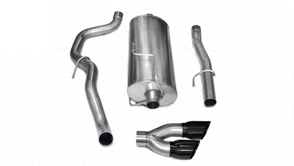 Corsa Performance 14483BLK | CORSA Dodge Ram 2500 Cat-Back Exhaust Crew Cab/Long Bed 5.7L V8 Sport - 3 Inch Single Side Exit with Twin 4 Inch Black Pro-Series Tips; 2010-2013