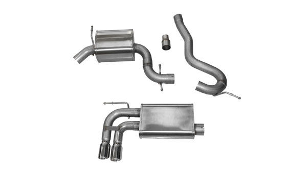 Corsa Performance 14545 | Corsa Audi A3 8P 2.0T, Touring 3in Cat-Back Single Rear Exit; Twin 3in Pro-Series Polished Tips; 2006-2014