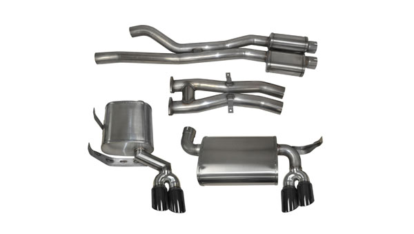 "Corsa Performance 14567BLK | CORSA BMW M3 Cat-Back Exhaust E46 Sport - 2.5 Inch Dual Rear Exit with Twin 3.0"" Black Pro-Series Tips; 2001-2006"
