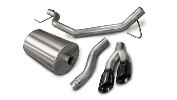 Corsa Performance 14580BLK | CORSA Nissan Titan Cat-Back Exhaust Extended Cab/Short Bed 5.6L V8 Sport - 3 Inch Single Side Exit with Twin 4 Inch Black Pro-Series Tips; 2004-2006