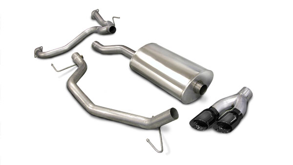 Corsa Performance 14581BLK | CORSA Nissan Titan Cat-Back Exhaust King/Crew Cab 5.6L V8 Sport - 3 Inch Single Side Exit with Twin 4 Inch Black Pro-Series Tips; 2007-2008
